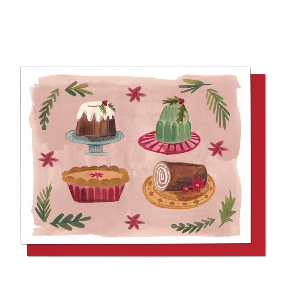 Retro Christmas Cakes Greeting Card
