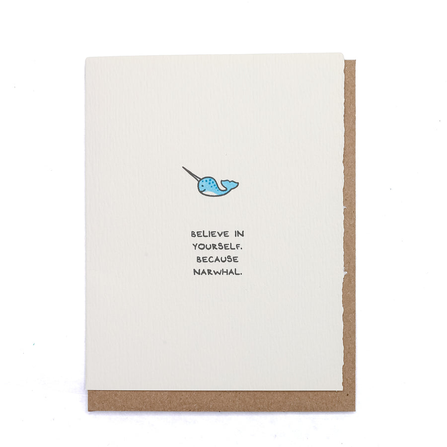 Believe In Yourself Narwhal Greeting Card