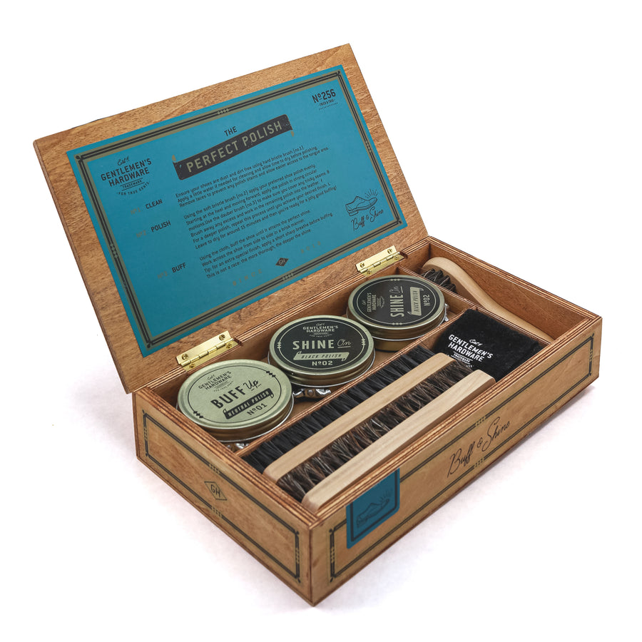 Gentlemen's Hardware - Cigar Box Shoe Shine Kit