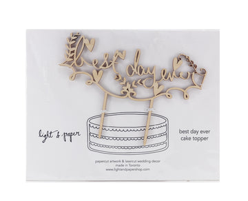 Light + Paper - Best Day Ever Horizontal Cake Topper
