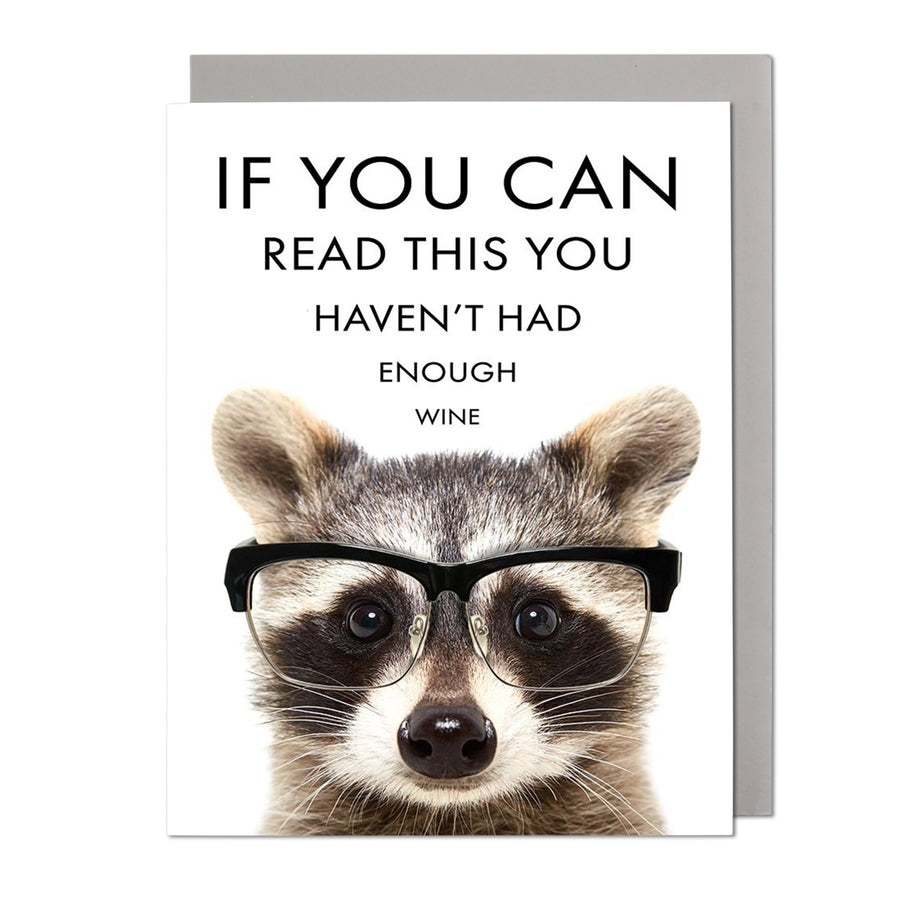 Eye Chart Raccoon Birthday Card