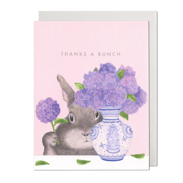 Bunny Arranging Lilacs Greeting Card
