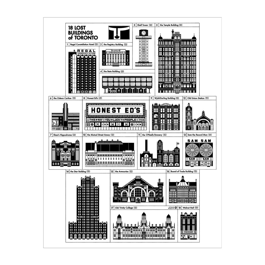 18 Lost Buildings of Toronto Print