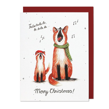 Singing Foxes Greeting Card