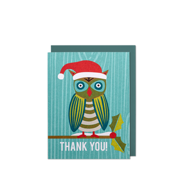 Thank You Holiday Owl Mini Greeting Card