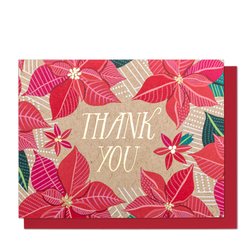 Thank You Poinsettia Greeting Card