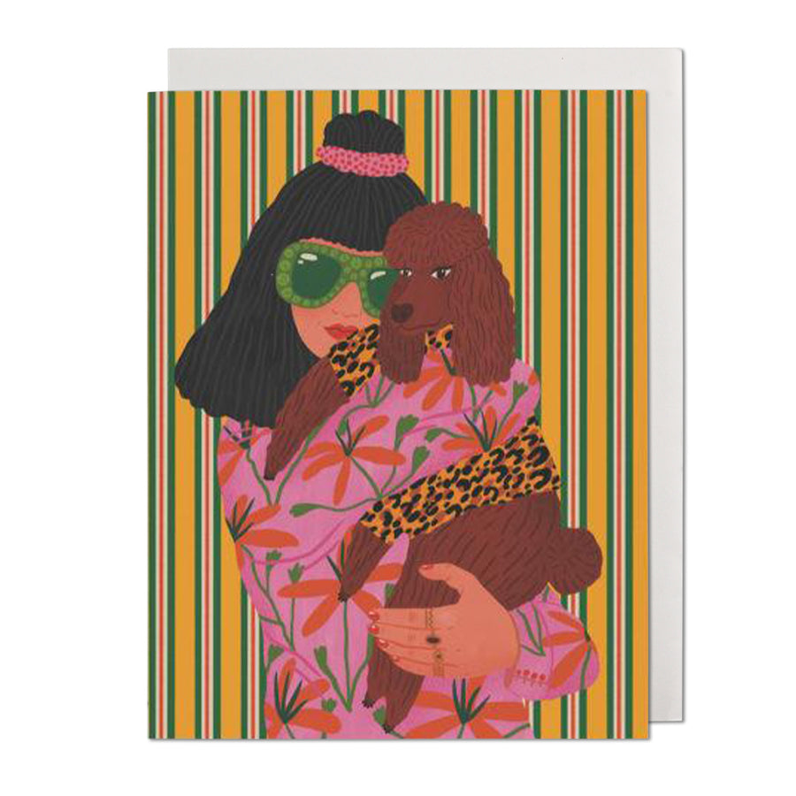 Poodle Woman Greeting Card