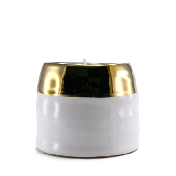 Sourced & Salvaged - Limited Edition Gold & White Ceramic Pine Candle