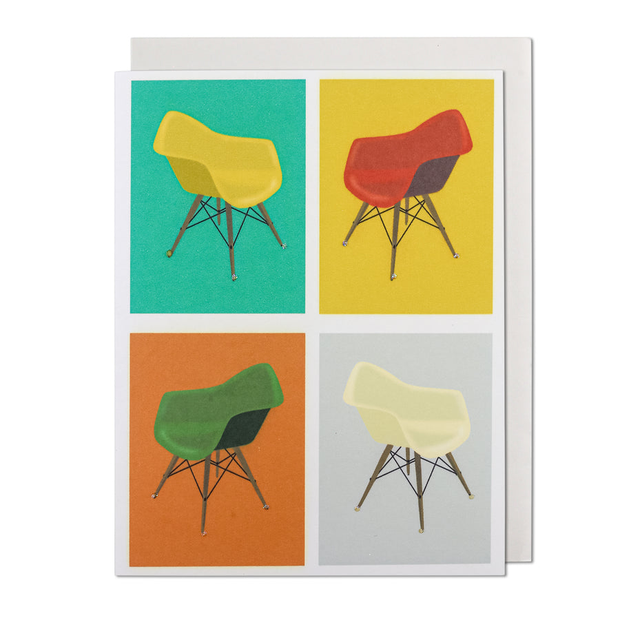 Mid-Century Modern Molded Chairs Greeting Card