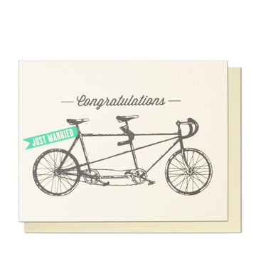 Just Married Tandem Greeting Card