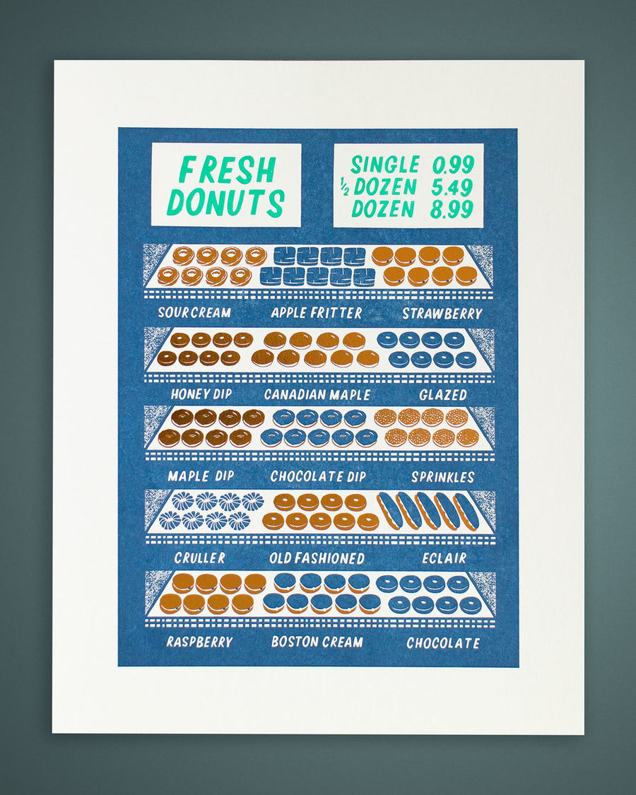 The Donut Shop Letterpress Print