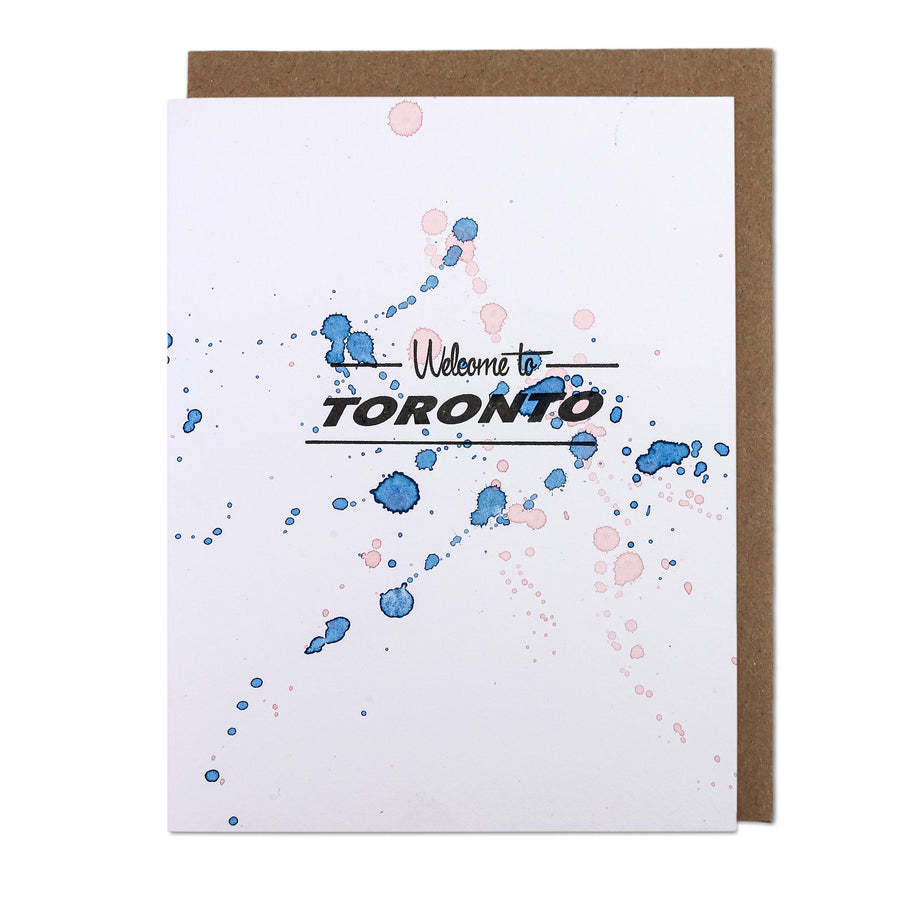 Welcome To Toronto Watercolour Letterpress Printed Greeting Card