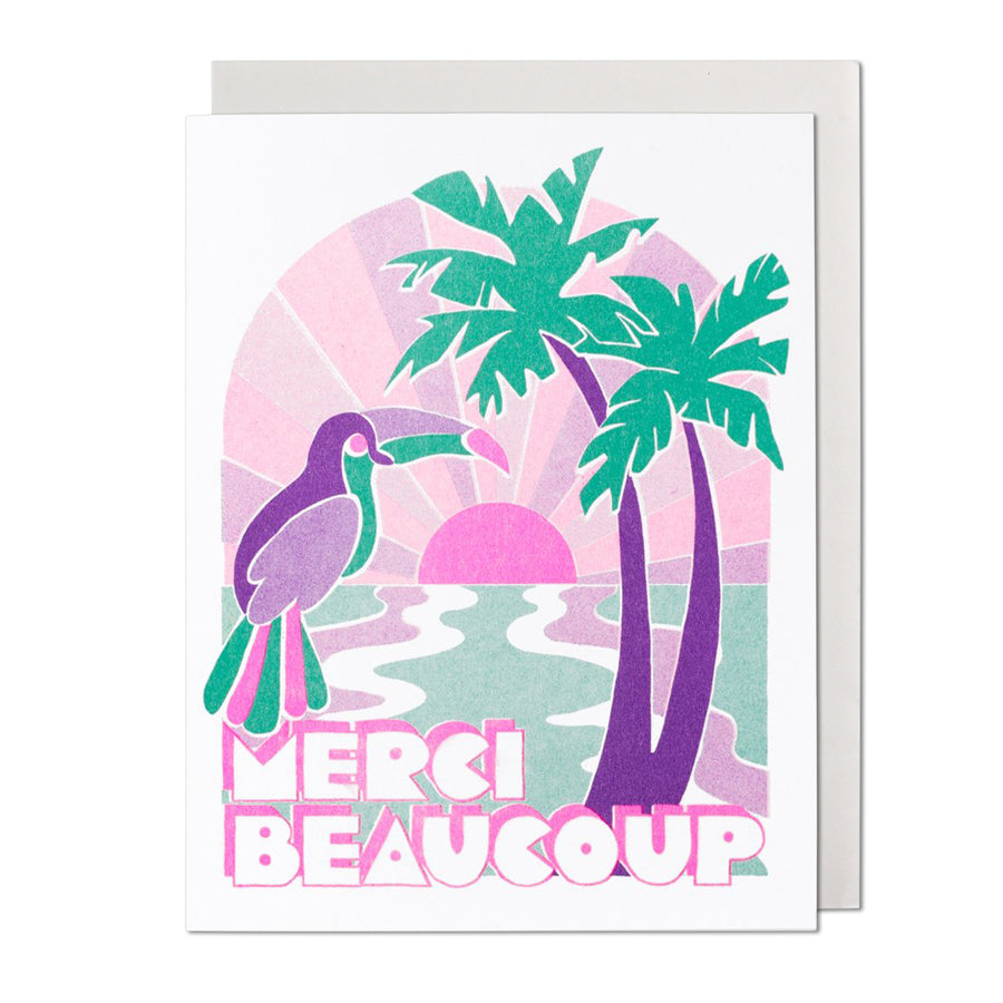 Tropical Merci Beaucoup Thank You Card
