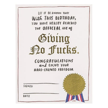 No Fucks Decree Birthday Card