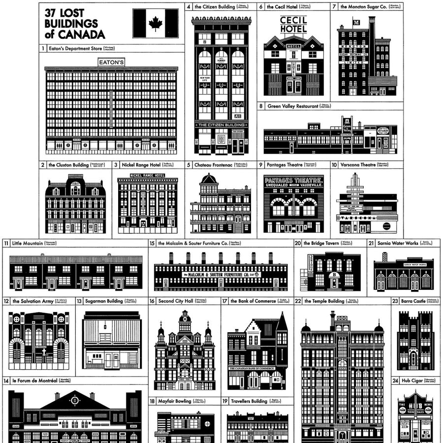 37 Lost Buildings of Canada Silkscreen Print