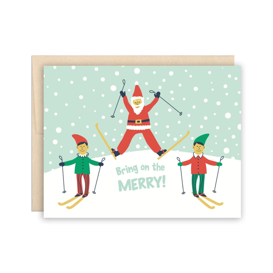 Santa Skis Greeting Card