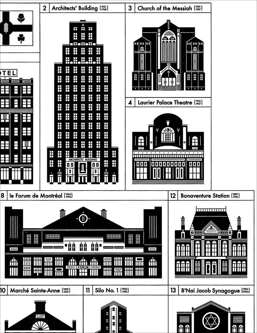 18 Lost Buildings of Montreal Print