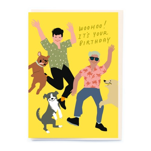 Jumping Dogs Birthday Card