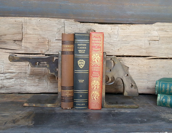 hand forged pistol bookends gift