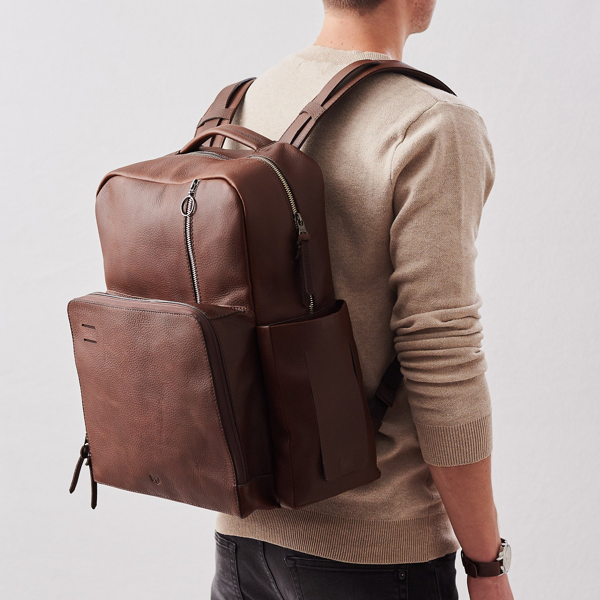 Brown Leather Diaper Bag Backpack