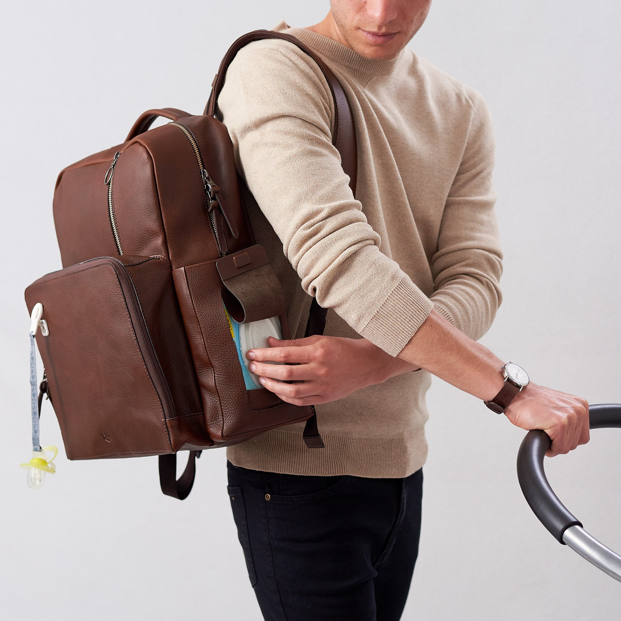 Diaper Bag Backpack Brown Leather