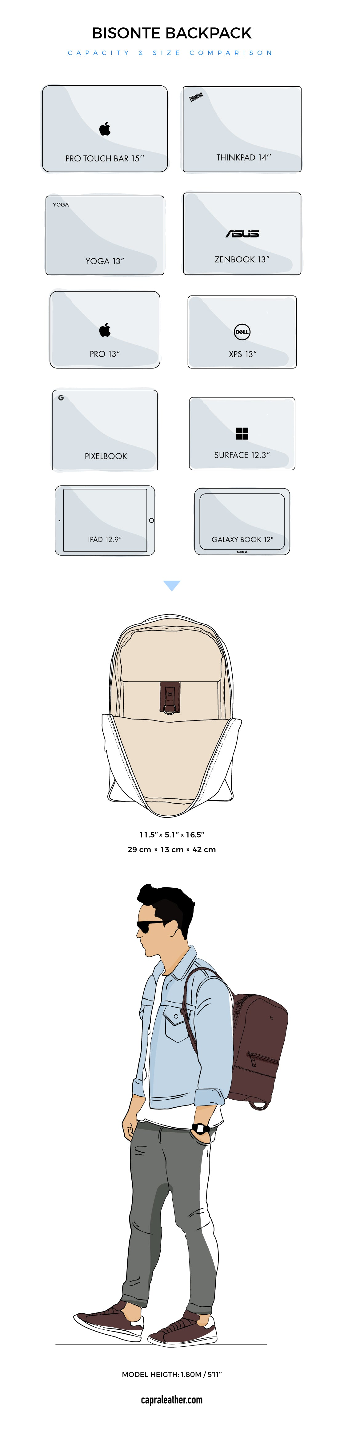Bisonte Leather Backpack Size Chart