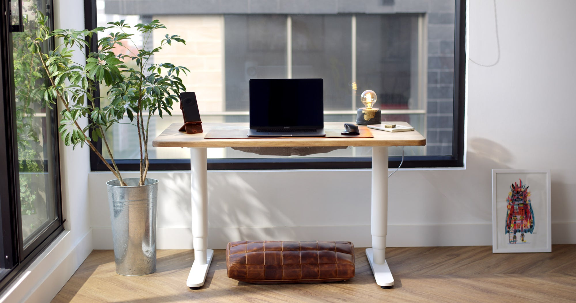 Desk Pad, Footrest, Phone Stand. Desk Setup, Home Office Essentials, Workspace, Work from Home WFH Distressed Tan by Capra Leather.