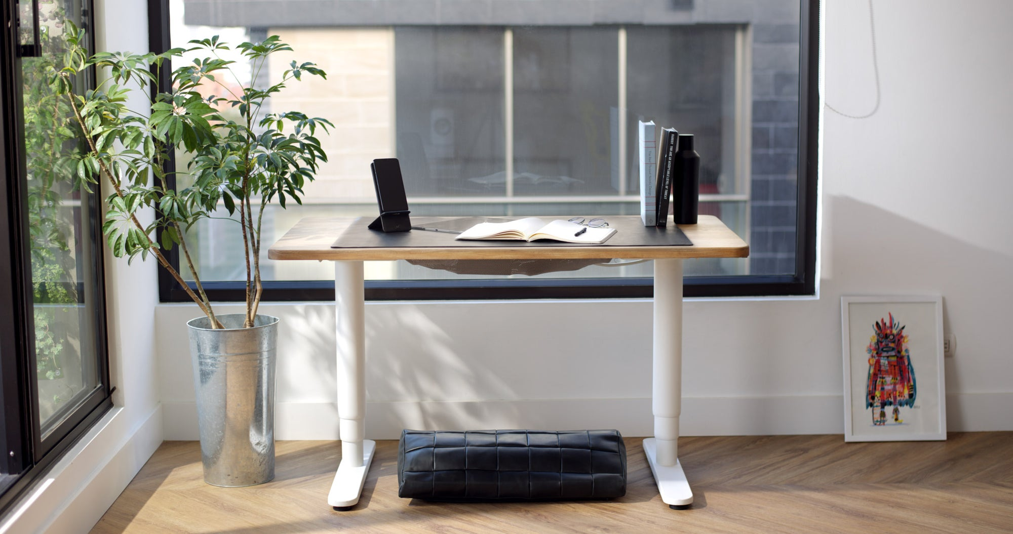 Desk Pad, Footrest, Phone Stand. Desk Setup, Home Office Essentials, Workspace, Work from Home WFH Black by Capra Leather