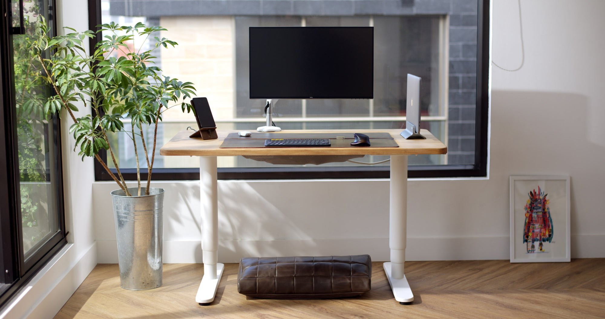 Desk Pad, Footrest, Phone Stand. Desk Setup, Home Office Essentials, Workspace, Work from Home WFH Brown by Capra Leather