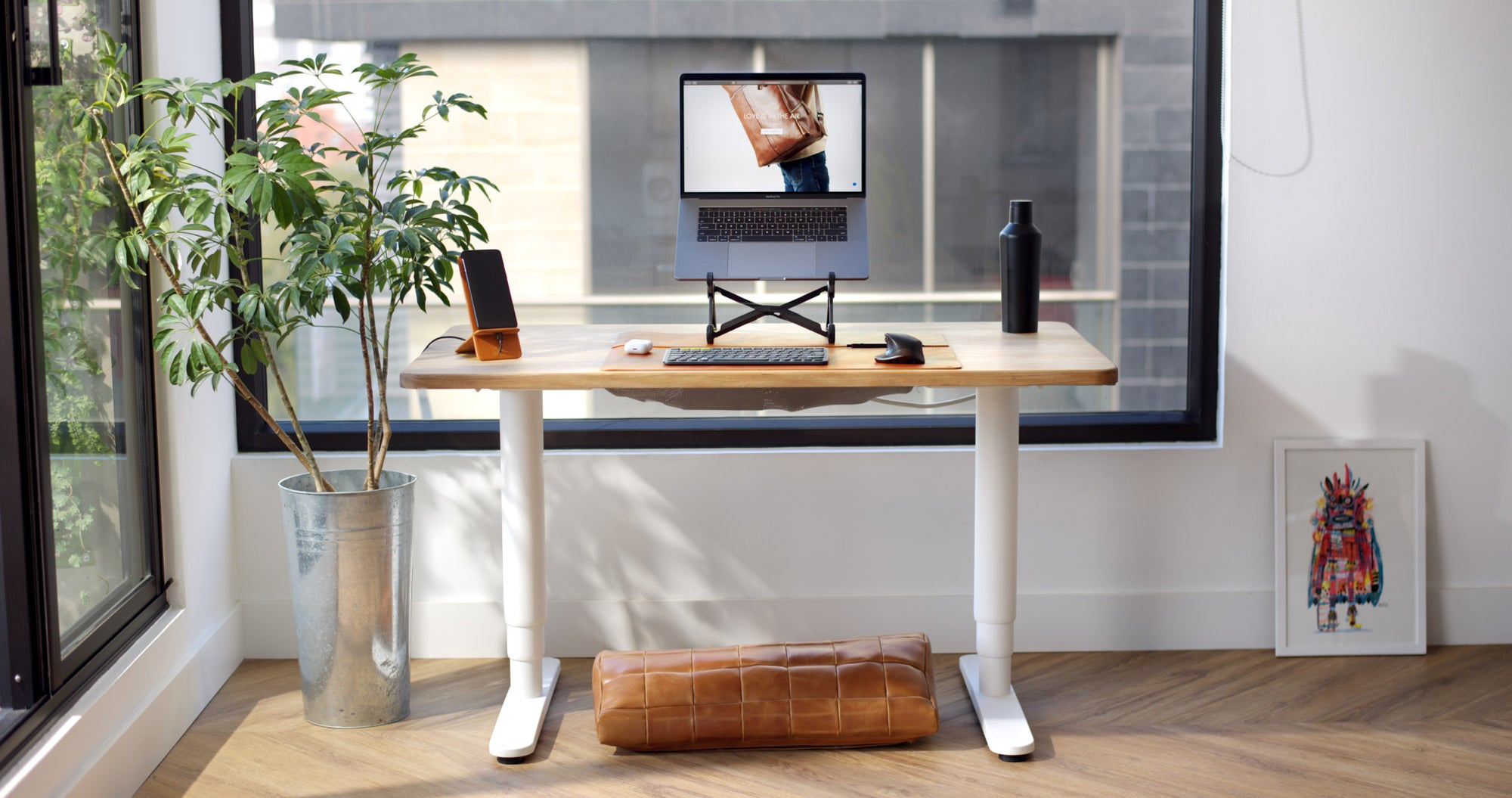 Desk Pad, Footrest, Phone Stand. Desk Setup, Home Office Essentials, Workspace, Work from Home WFH Tan by Capra Leather