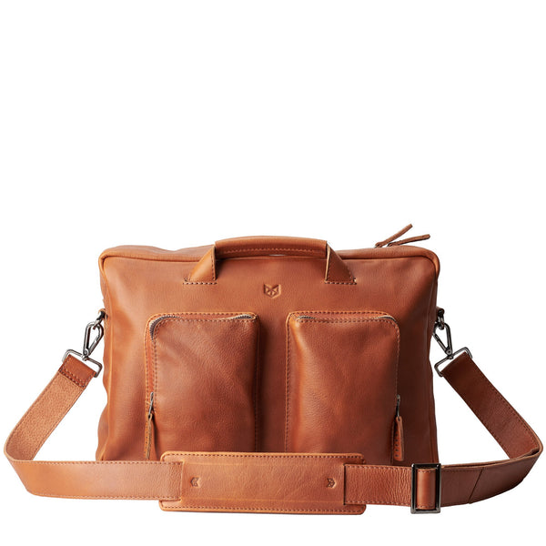 leather messenger bag in tan. capra leather.