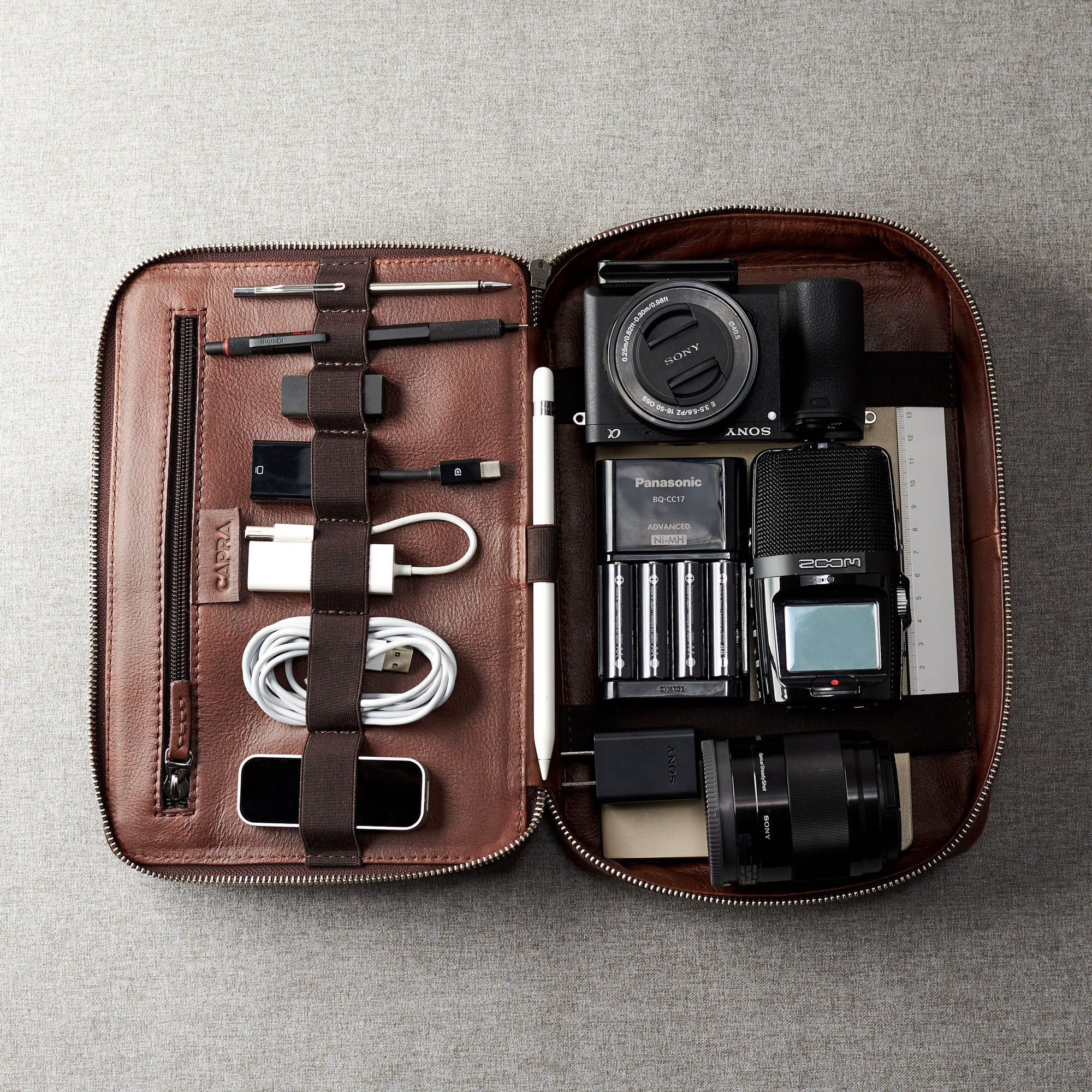 Leather Travel Gear Pouch Organizers for Men