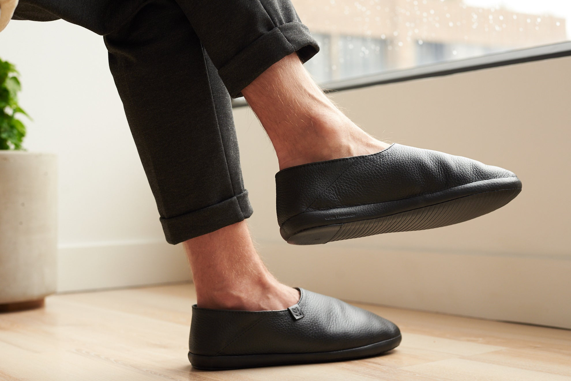 Black home shoes. Full grain leather