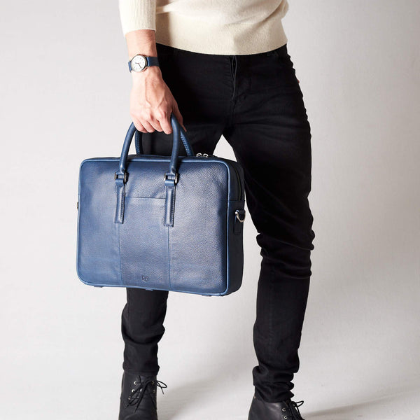 blue leather laptop case. leather briefcase for men.