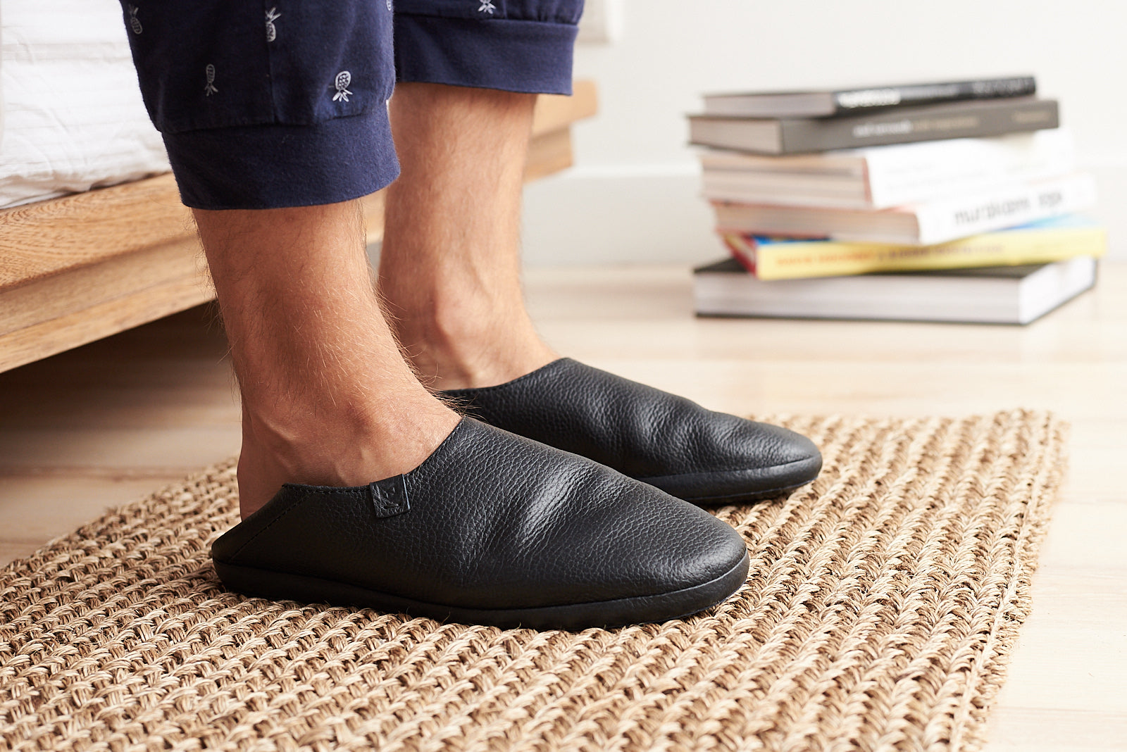 Black home shoes. Slippers and slip on