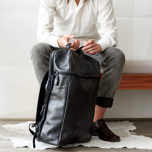 black leather backpack for men