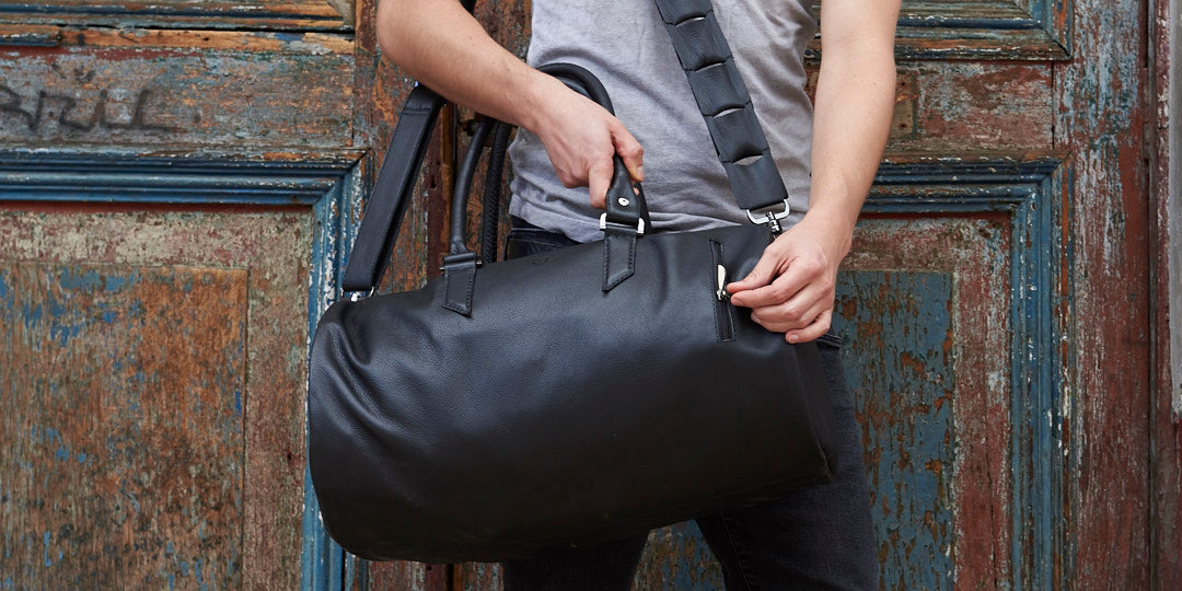 handmade leather duffle bag travel accessories for men