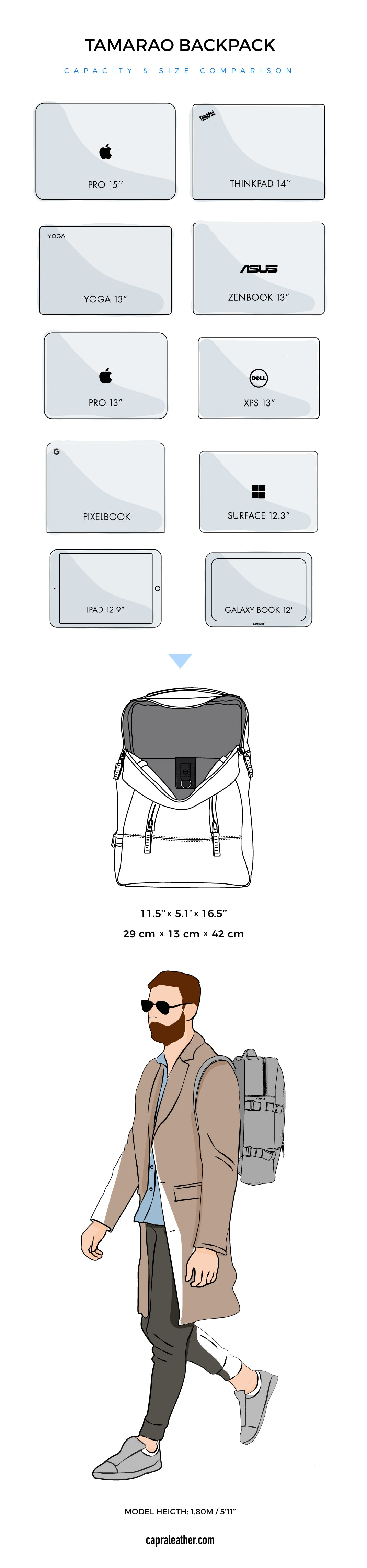 Tamarao Leather Backpack Size Chart
