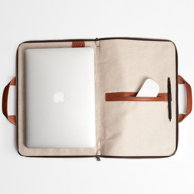 Linen interior. Tan laptop portfolio. Business document organizer for men.