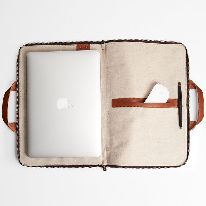 Biker Laptop Portfolio · Tan
