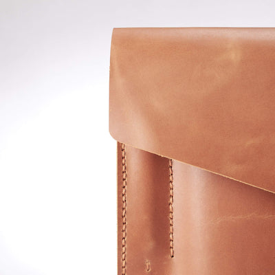 Case detail. Light brown leather sleeve for ASUS Zenbook Pro Duo. Mens gifts