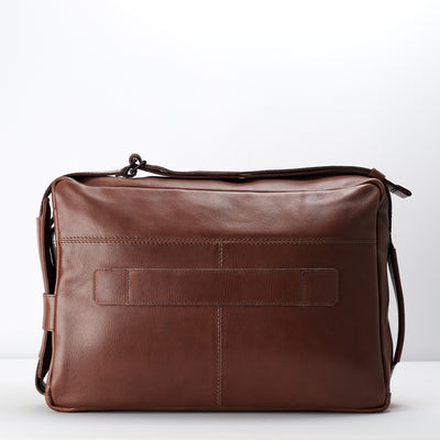Luggage handle. Brown handmade leather messenger bag for men. Commuter bag, laptop leather bag by Capra Leather.