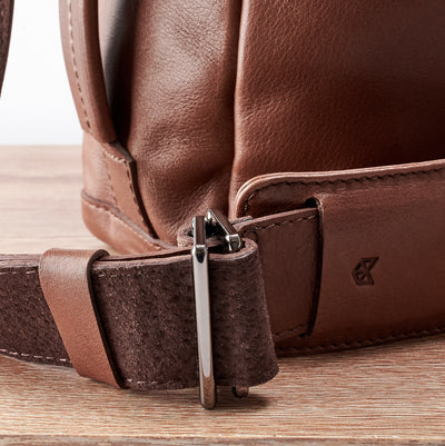 Suede texture. Brown handmade leather messenger bag for men. Commuter bag, laptop leather bag by Capra Leather.