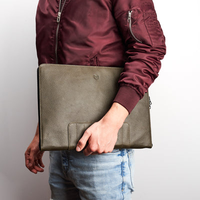Mens style accessories. Green Leather Laptop Portfolio Case. Laptops & devices Bag.