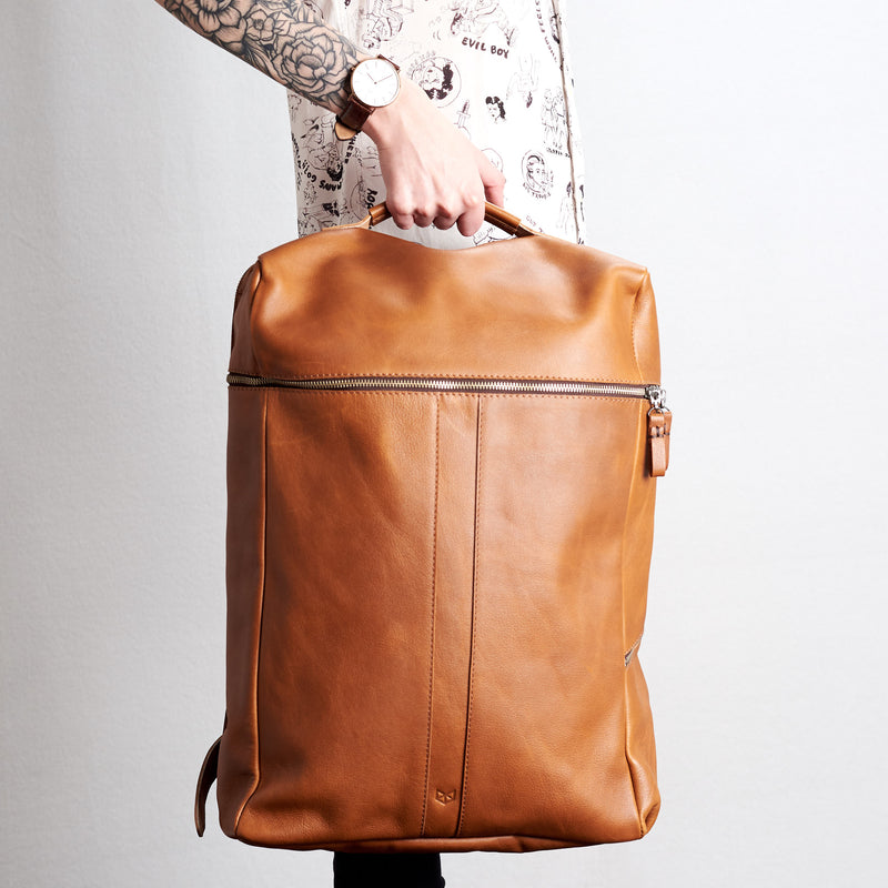 Cover. Banteng Tan Brown Laptop Backpack for Men by Capra Leather