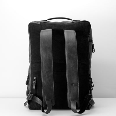 Back. Banteng Black Laptop Backpack for Men by Capra Leather