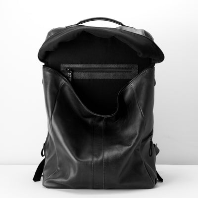 Main Pocket. Banteng Black Laptop Backpack for Men by Capra Leather