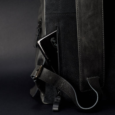 Style Phone Pocket. Banteng Black Laptop Backpack for Men by Capra Leather
