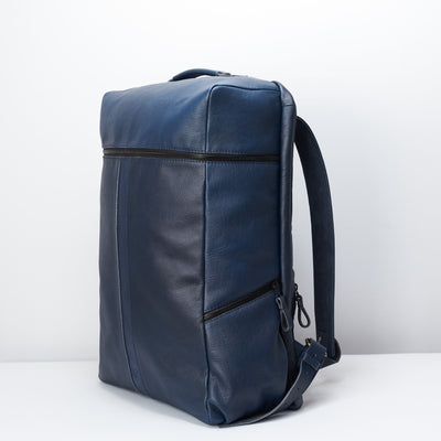Side pocket for water bottles. Banteng Ocean Blue Laptop Backpack for Men by Capra Leather
