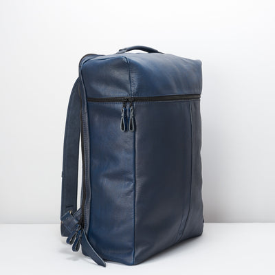 Side. Banteng Ocean Blue Laptop Backpack for Men by Capra Leather